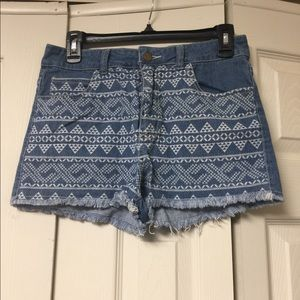 Tribal High Waisted Jean Shorts